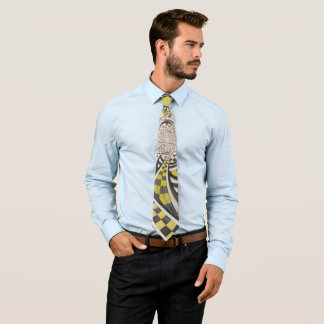 Liquid Taxi Cab, a Yellow Checkered Retro Fractal Tie