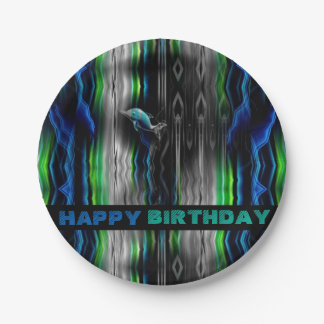 Liquid Vibrations Dolphin Neon Paper Plate
