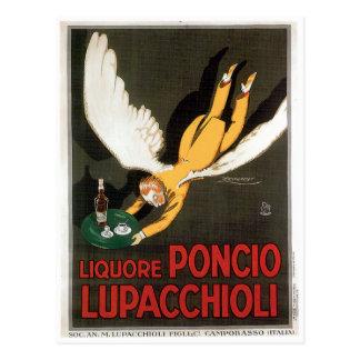 Liquore Poncio Lupacchioli Vintage Drink Ad Art Postcard