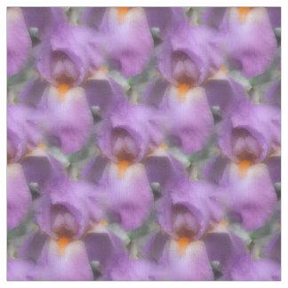L'iris barbu pourpre fleurit le motif de nature tissu