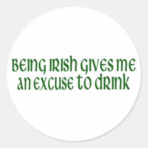 L'Irlandais est une excuse à boire Adhésif Rond