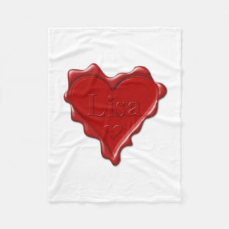 Lisa. Red heart wax seal with name Lisa Fleece Blanket