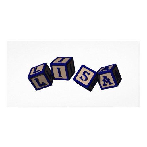 Lisa toy blocks in blue photo greeting card