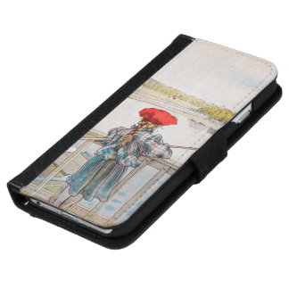 Lisbet Fishing by Carl Larsson, Vintage Fine Art iPhone 6 Wallet Case