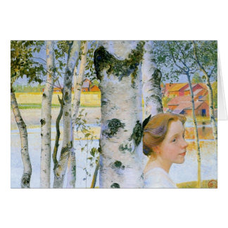 Lisbeth  at the Birch Trees Greeting Card