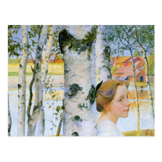 Lisbeth  at the Birch Trees Post Card