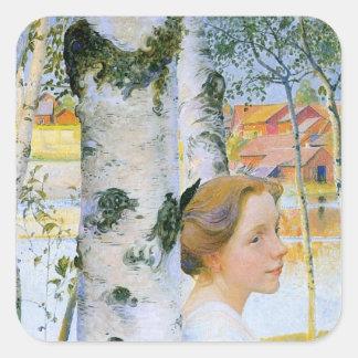 Lisbeth  at the Birch Trees Sticker