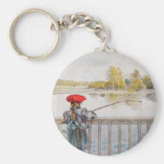 Lisbeth Fishing by Carl Larsson Basic Round Button Keychain