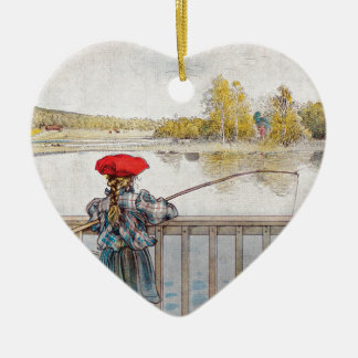 Lisbeth Fishing by Carl Larsson Ceramic Heart Ornament