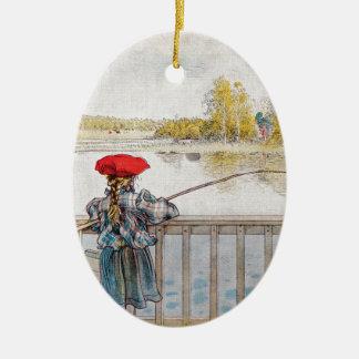 Lisbeth Fishing by Carl Larsson Ceramic Oval Ornament