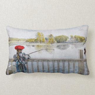 Lisbeth Fishing by Carl Larsson Lumbar Pillow