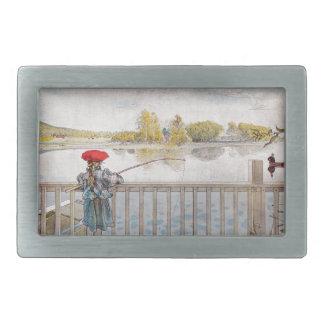 Lisbeth Fishing by Carl Larsson Rectangular Belt Buckle