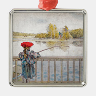 Lisbeth Fishing by Carl Larsson Silver-Colored Square Ornament