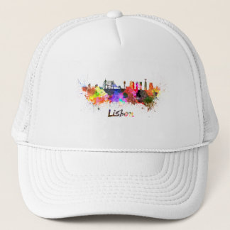 Lisbon skyline in watercolor trucker hat