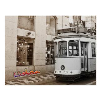 Lisbon tram and color postcard