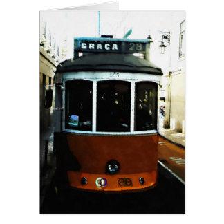 Lisbon tram closeup card