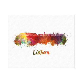 Lisbon V2 skyline in watercolor Canvas Print