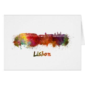 Lisbon V2 skyline in watercolor Card