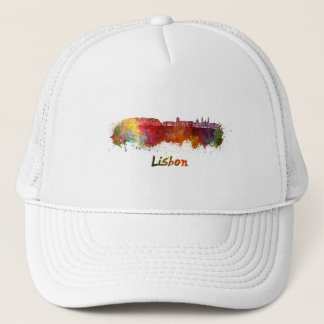 Lisbon V2 skyline in watercolor Trucker Hat