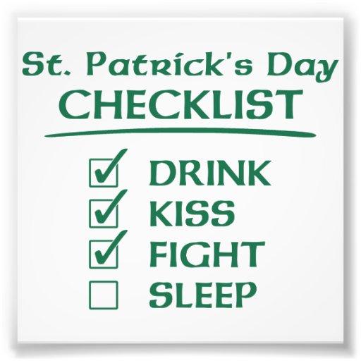 Liste de contrôle du jour de St Patrick : Boisson, Photos D'art