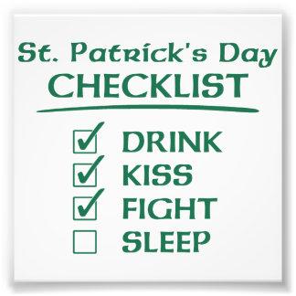 Liste de contrôle du jour de St Patrick : Boisson, Photo Sur Toile