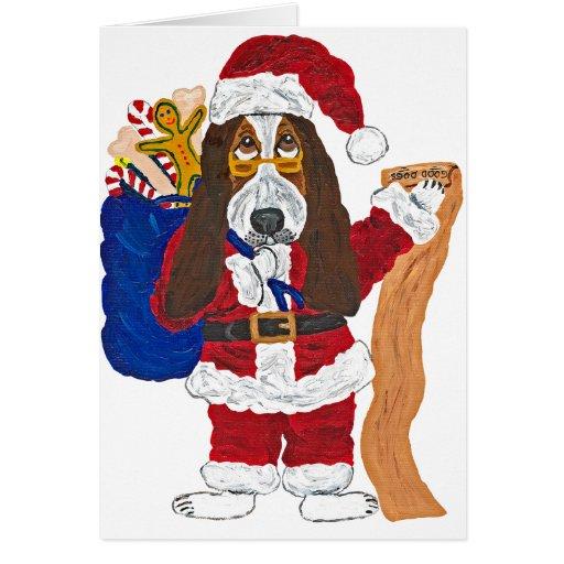 Liste de vérification de Père Noël de basset de bo Carte