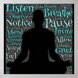Listen, Breath, Pause, Be Meditation Poster