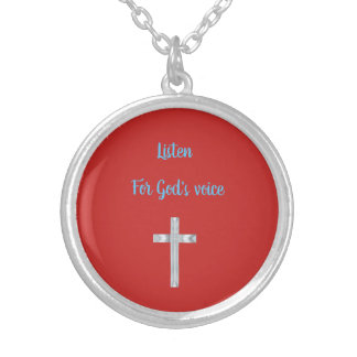 Listen for God's voice Silver Plated Necklace