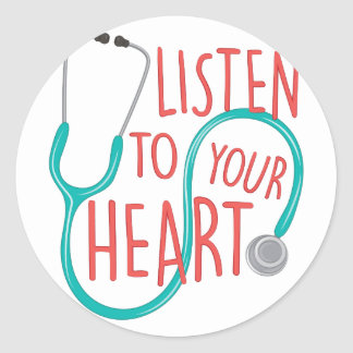 Listen To Heart Round Sticker