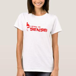 Listen to Sensei (Womens) White/Red T-Shirt
