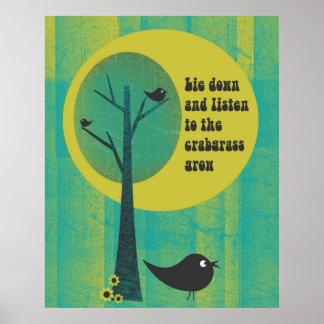 Listen to the Crabgrass Retro Poster