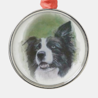 Listening Border Collie Ornament