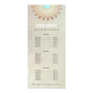 Listes des prix en bois d'or de mandala fleuri motif pour double carte