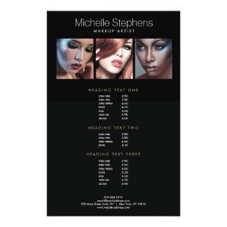 Listes des prix noires de photo de maquilleurs prospectus 14 cm x 21,6 cm