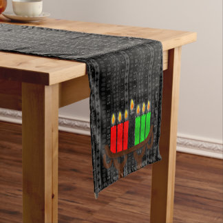 Lit Kinara Kwanzaa with Black, Red and Green Short Table Runner