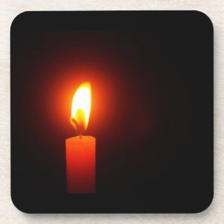 Lit Red Candle Hard Plastic Coasters