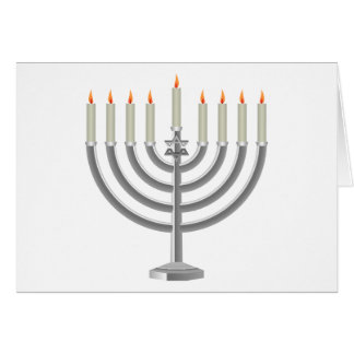 Lit Silver Hanukkah Menorah with Star of David Card