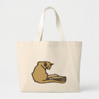Literary Cat Jumbo Tote Bag
