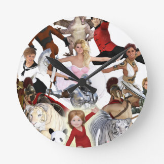 Literary Classics and Fictional Characters Dreamed Wall Clock
