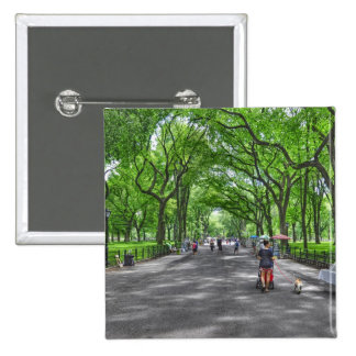 Literary Walk- Central Park, New York 2 Inch Square Button