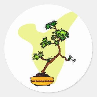 Literati Pine in yellow pot Classic Round Sticker