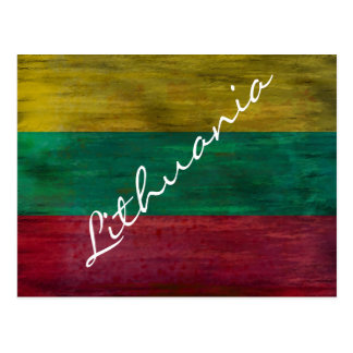 Lithuania distressed Lithuanian flag Postcard
