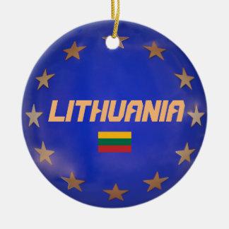Lithuania E.U. Flag Christmas Ornaments