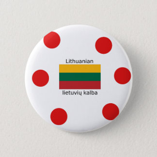 Lithuania Flag And Lithuanian Language Design 2 Inch Round Button