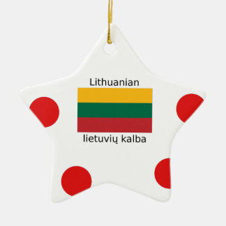 Lithuania Flag And Lithuanian Language Design Ceramic Ornament