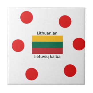 Lithuania Flag And Lithuanian Language Design Tile