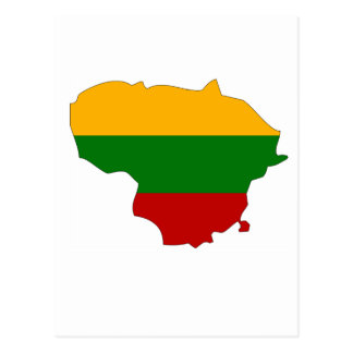 Lithuania flag map postcard