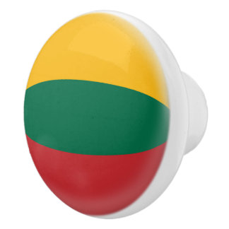 Lithuania, Lithuanian Red Green & Yellow Flag Ceramic Knob