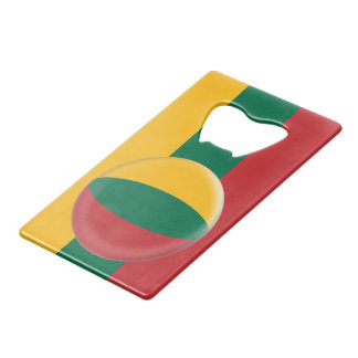 Lithuania, Lithuanian Red Green & Yellow Flag Credit Card Bottle Opener