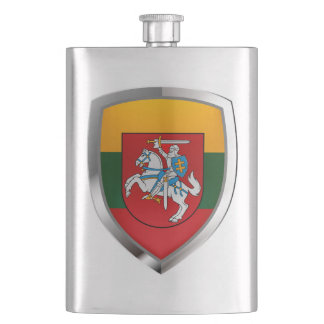 Lithuania Metallic Emblem Hip Flask